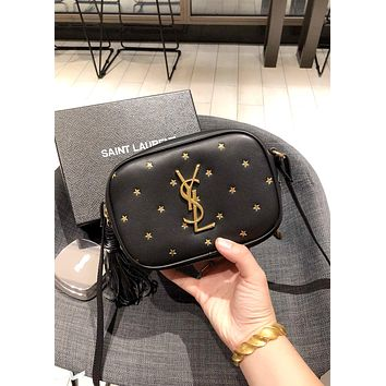 YSL BLOGGER 2019 new female stars tassel bag shoulder bag Messenger bag Black