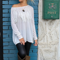 Rolling Plains White Scoop Neck Long Sleeve Top With Fringe Front