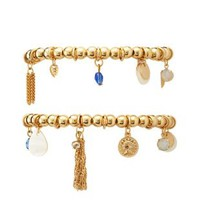 Gold Beaded Stretch Charm Bracelets - 2 Pack by Charlotte Russe