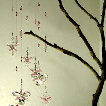 Nursery Idea Decor Pink Butterfly Mobile Swarovski Crystal Suncatcher Chandelier Hanging Mobile Baby Girl Mobile Crystal Garland Fairy Gift