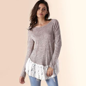 Gray Scoop Neck Women t-Shirt Lace Spliced Hem Long Sleeve Female Tops 2018 Vintage Cute Beautiful Appliques Shirts