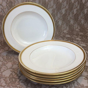"Minton Davis Collamore Dinner Plates 10 1/4"", Set of 6, Antique Gold Encrusted White Porcelain Dishes, Elegant Dining, Wedding Table Serving"