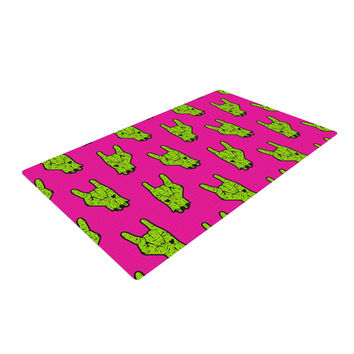 "KESS Original ""Zombie Rock"" Green Magenta Woven Area Rug"