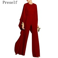 Preself Fashion Chiffon Jumpsuit Women Elegant Flouncing Flared Sleeve High Waist long sleeve New 2017 high quality brand