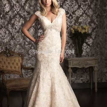 Elegant V Neck Cap Sleeves Wedding Dresses Lace 2015 New Fashion Mermaid Bridal Gowns with Train Custom Made