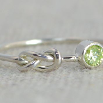 Sterling Silver Peridot Infinity Ring