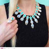 Whitney Statement Necklace in Teal Mosaic - Kendra Scott Jewelry