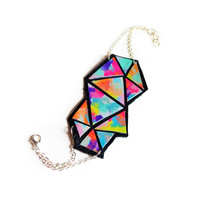 Triangle Geometric Leather Bracelet Hand Painted Rainbow Ombre, Leather Cuff | Boo and Boo Factory - Handmade Leather Jewelry