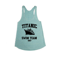 Titanic Swim Team 1912 Joke Dark Humor Ship Sinking Too Soon Movie Reference Swimming Joking Funny SGAL1 Women's Racerback Tank