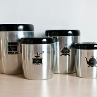 West Bend Aluminum Canisters, Black Lids, 1950s Kitchen Containers Flour Sugar Coffee Tea