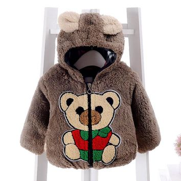 Baby winter coat Infant Bear Pattern Autumn Winter Hooded Coat Cloak Jacket Thick Warm Clothes drop ship