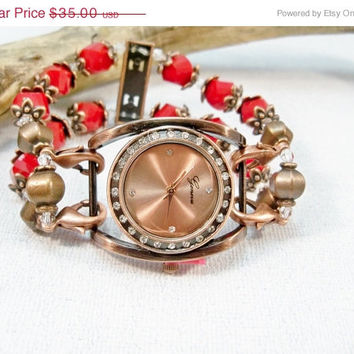 ON SALE Copper Watch | Stretch Watch Band | Red Interchangeable Watch | Watch Bracelet