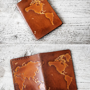 WORLD MAP Passport Cover - Genuine Leather