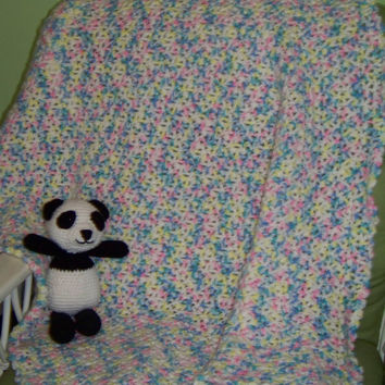 "Multi-color baby blanket measures 45"" by 36 1/2"", blue, yellow, green, pink and white-crochet"