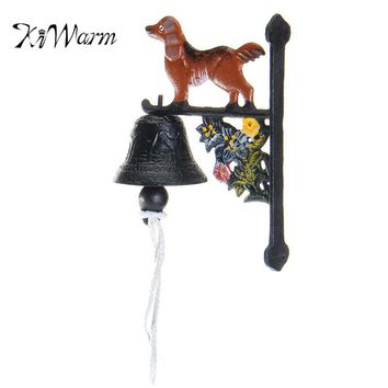 KiWarm Vintage Style Rusted Dog Cast Iron Door Bell Wall Mounted Home Garden Decoration Ornament Craft