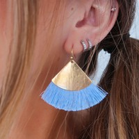 One Last Time Earrings: Gold/Powder Blue