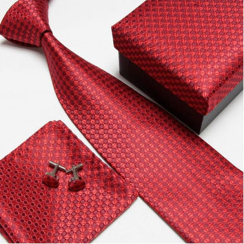 Red Design Necktie Set with Matching Cufflinks, Pocketsquare and Gift Box