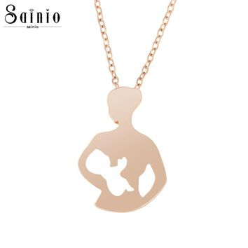 Sainio Charming Baby Mother Necklace Family Love Mother Holding Daughter Son Child Pendant Necklace Simple Jewelry Gift