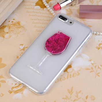 "Soft TPU Silicone Funda White Quicksands Liquid Cup Case For Alcatel One Touch Idol 3 5.5"" 6045 6045Y 6045K Shell Cover"