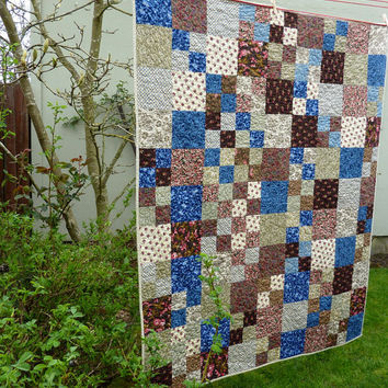 Farmhouse Patchwork Lap Quilt Couch Throw - Blue Brown Pink Rose Green Tan - Country Traditional - Handmade Homemade Quilt - Home Decor