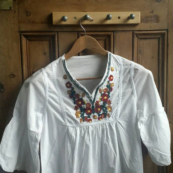 Boho Embroidered Top Blouse Hippy Dye Tie Indian Shirt Vtg 70s Ethnic Floral Vintage Retro Hippie S /  Dolly Topsy Etsy UK