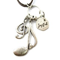 Treble Clef Musical Quaver Note and Dove Shaped Charm Necklace in Silver