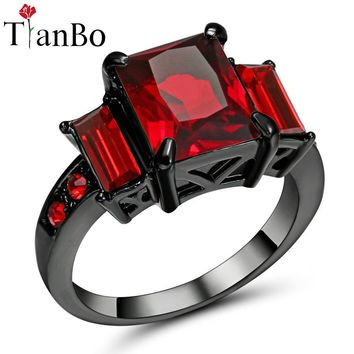 TianBo Blue / Red Crystal Geometric Ring Silver / Black / Gold Colour Jewelry Vintage Wedding Rings For Men/Women Gift Size 8