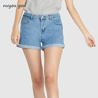 Mini shorts sexy ripped short jeans female 2018 summer dark blue hole hot shorts High waist denim shorts women bottoms