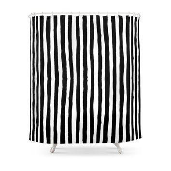 Society6 Black And White Vertical Stripes Shower Curtains