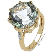 14K Yellow Gold 8CT Round Cut Green Amethyst Solitaire White Topaz Accent Ring