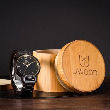 Natural Bamboo Wooden Watch Brand new analog men wood watch slim designer 2016 Strap Japanese
