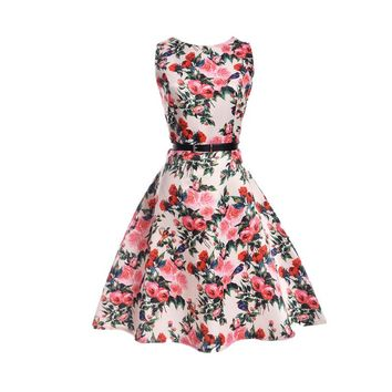 2018 Floral printed girls dress sleeveless Children Summer clothing 5 7 10 11 12 13 15 20 years girl party dresses kids clothes