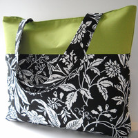 Tote Bag / Beach Bag in Green and Black / White floral