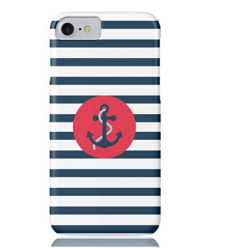 Striped Navy Anchor Phone Case