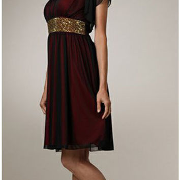 Rehearsal Dinner Maternity Red Knee Length Dress Black Overlay