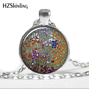 HZ--A146 Gustav Klimt's Farm Garden art pendant, Klimt art resin pendant, Klimt jewelry,Glass Photo Necklace HZ1