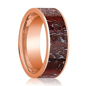 TYRA Men's 14k Rose Gold Flat Wedding Ring with Red Dinosaur Bone Inlay - 8MM