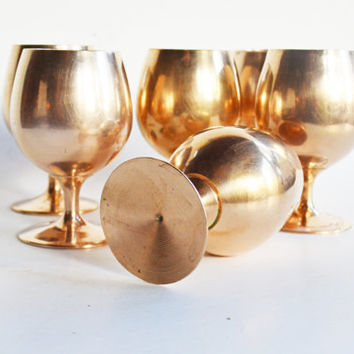Brass Brandy Snifters, Brass Cordial Glasses, Vintage Shot Glasses, Brass Barware, Brass Stemware