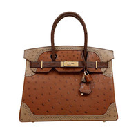 Hermes Limited Edition Tri Color Ostrich Ghillies Birkin Bag