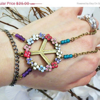 "CHRISTMAS SALE Rainbow Peace ""Slave Bracelet"" Ring. Glittery colorful Flower Peace Sign Charm. Colorfully beaded"