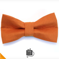 "Pet Bow Tie - ""Clockwork Orange"" - Orange Detachable Bowtie for Cats + Dogs"