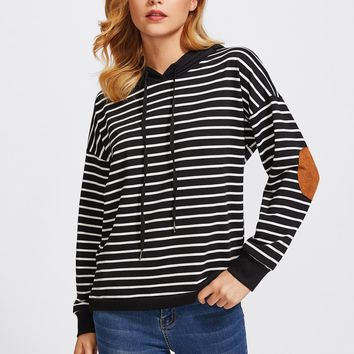 Drop Shoulder Elbow Patch Striped Hoodie