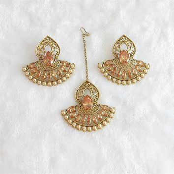 Ram Leela Gold Chaand Bali Earrings Tikka Jewelry Studded With Crystals/Ethnic Temple Jewelry/Traditional Earrings/Chand Bali  Earrings