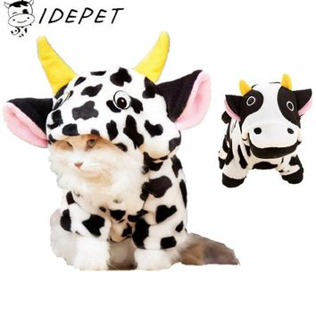 Winter Cat Clothes Coat Cow Costumes Thickening Pet Cat Clothes For Small Cat Fleece Cartoon Sweater Pet Clothes 30 S1