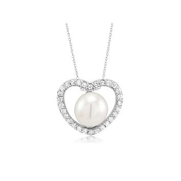 Natural 8mm White Pearl Heart AAAA CZ Necklace