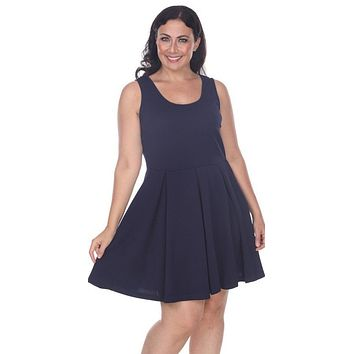 Plus Size Crystal Fit/Flair Skater Dress Navy Blue Short Scoop Neck