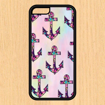 Floral Anchors Art Print Cell Phone Case iPhone 4/4s 5/5c 6/6+ Case and Samsung Galaxy S3/S4/S5