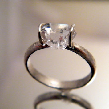 Herkimer Diamond Solitaire ring - simple engagement ring wedding ring or cocktail