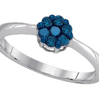 Blue Diamond Fashion Ring in 10k White Gold 0.25 ctw