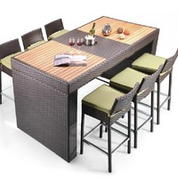 Pier Table and 6 Bar Stool Patio Bar Set